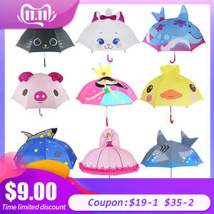 Image 1 - Cute Cartoon Children Umbrella animation creative long handled 3D ear modeling kids umbrella For boys girls