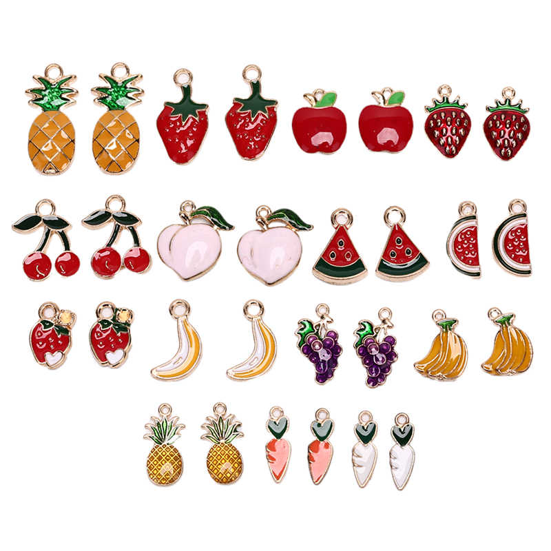 30pcs Misto di fascini Dello Smalto di Frutta Pendenti e Ciondoli Lega di Ananas Ciliegia Anguria Fragola Metallo Pendenti con gemme e perle Pendenti e Ciondoli Per Monili Che Fanno