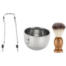 Мужской набор для бритья бороды, профессиональная нержавеющая сталь, подставка для посуды, щетка, инструменты для бритья бороды