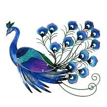 Art mural de paon en métal, Animal, décoration de jardin, Sculptures dextérieur Miniatures, ornements de jardin