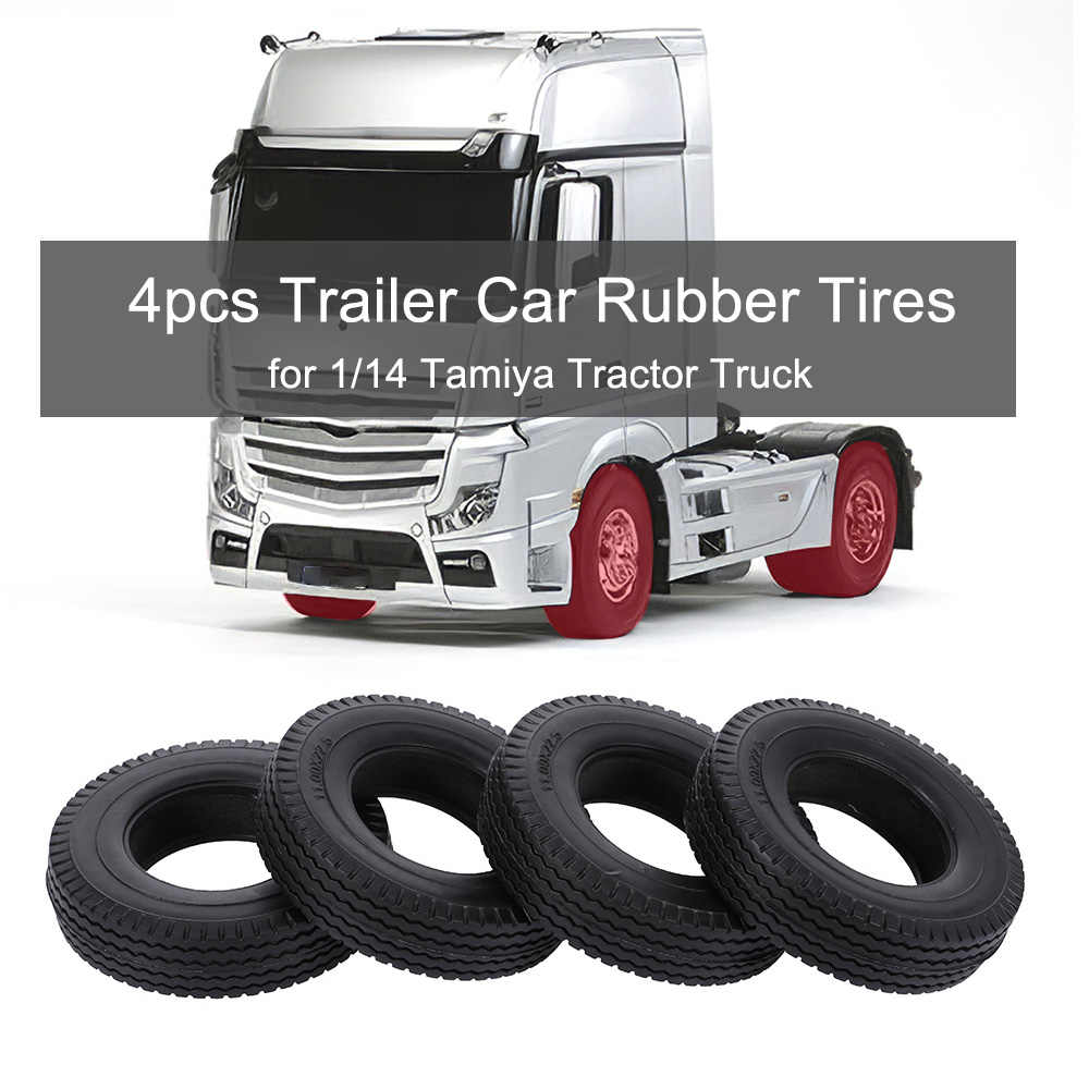 4 Pcs Trailer Mobil Ban Karet untuk 1/14 Tamiya Traktor Truk RC Pendaki Trailer RC Bagian