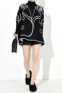 Image 4 - Женский Хлопковый вязаный свитер, повседневный Свободный пуловер большого размера плюс с рисунком на осень и зиму, 2019