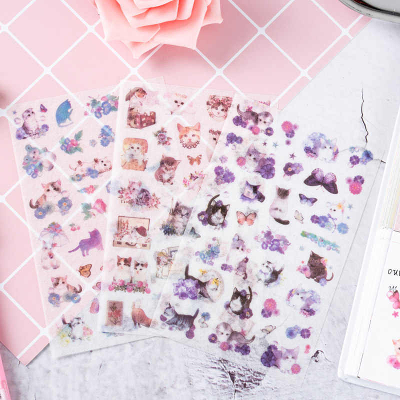 6Sheets Cute Cat Stickers Kawaii Cartoon Stationery Stickers Paper Adhesive Sticker For Kids DIY Scrapbooking Albums Supplies