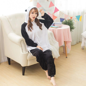 Image 5 - Adult Panda Cartoon Kigurumi Cosplay Costume Women Loose Kid Winter Animal Onesie Jumpsuit Boy Anime Flannel Pajamas Sleepwear
