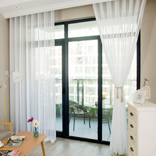 White Stripe Sheer Curtains For Living Room Bedroom Tulle Curtains For The Kitchen Modern Fabric For Window Treatment Curtains norne embroidered semi white voiles peacock feathers tulle sheer curtains for living room kitchen drape treatment for bedroom