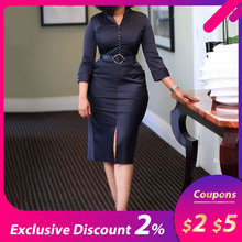 Mid-Calf V-Neck 3/4 Sleeve Pullover Silky Bodycon Dress Black Elegant Office OL Lady Summer Empire Party Soliad midi Dress Sale(China)