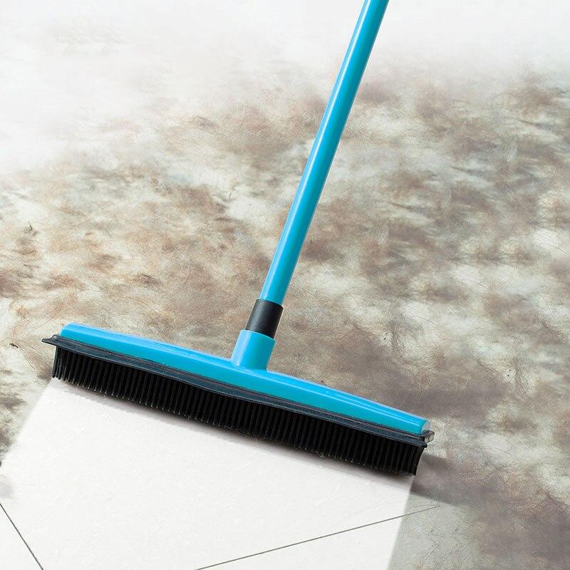 Pet Hair Rubber Removal Telescopic Broom Bristles Magic Clean Sweeper Squeegee Scratch Bristle Long Push Broom