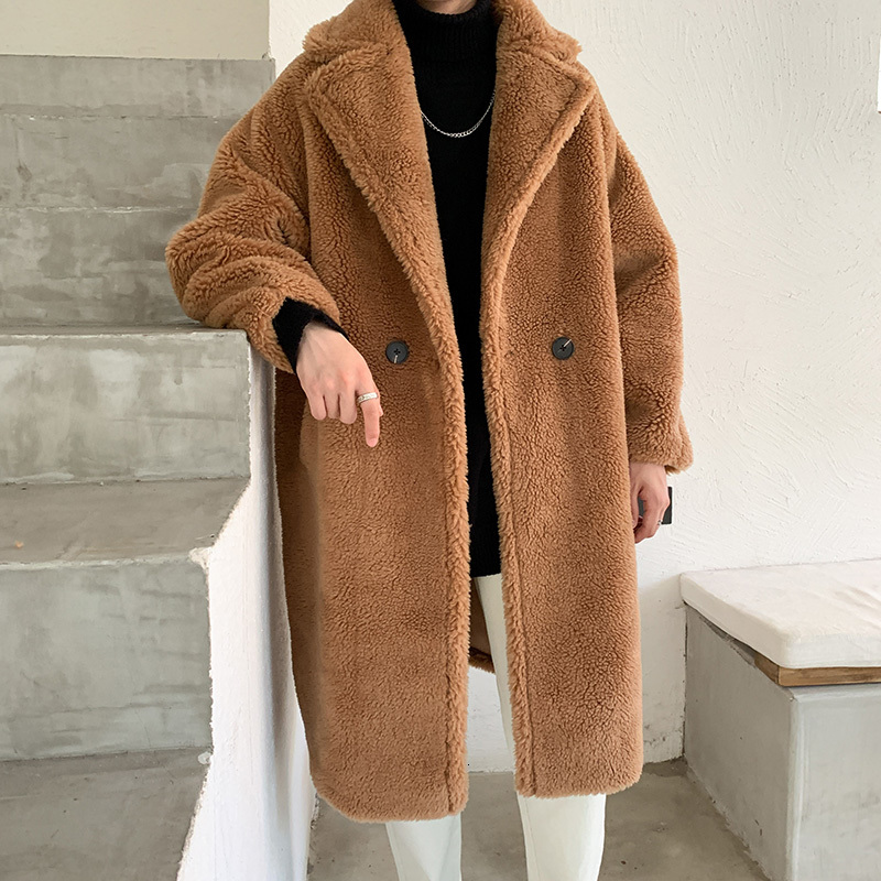 2019 Winter Men's Long Cashmere Jacket Woollen Blends Trench Chamois Thickening Windbreaker Keep Warm Loose Business Coats M-2XL