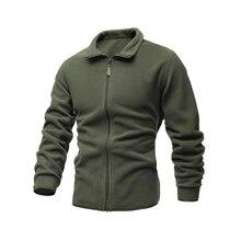 Men's Jacket Slim Double-Faced Fleece Tactical Sweater Casual Turn-Down Collar Zipper Solid Color Jacket Male Warm Winter Coat