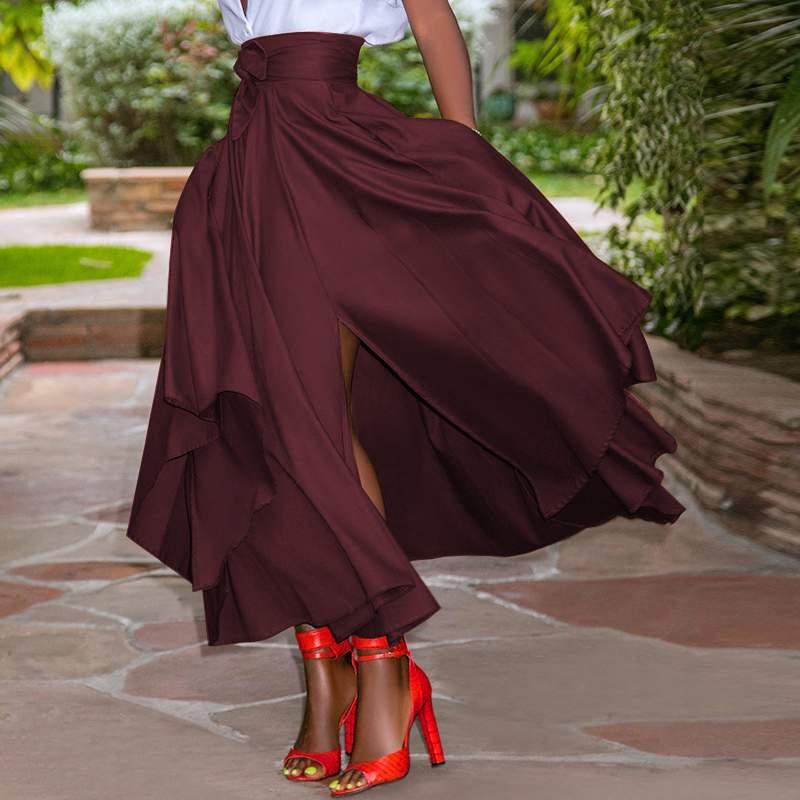 ZANZEA Fashion Irregular Skirts Holiday Zipper High Waist A Line Skirts 5XL Womens Summer Long Skirts Vintage Beach Solid Skirts 4