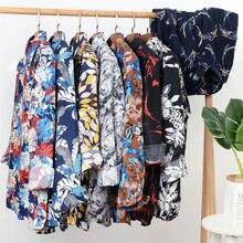 Осенняя Новая мужская рубашка с цветочным принтом Повседневная Свободная гавайская рубашка с длинными рукавами Мужская брендовая одежда плюс размер 5XL 6XL 7XL 8XL 9XL 10XL