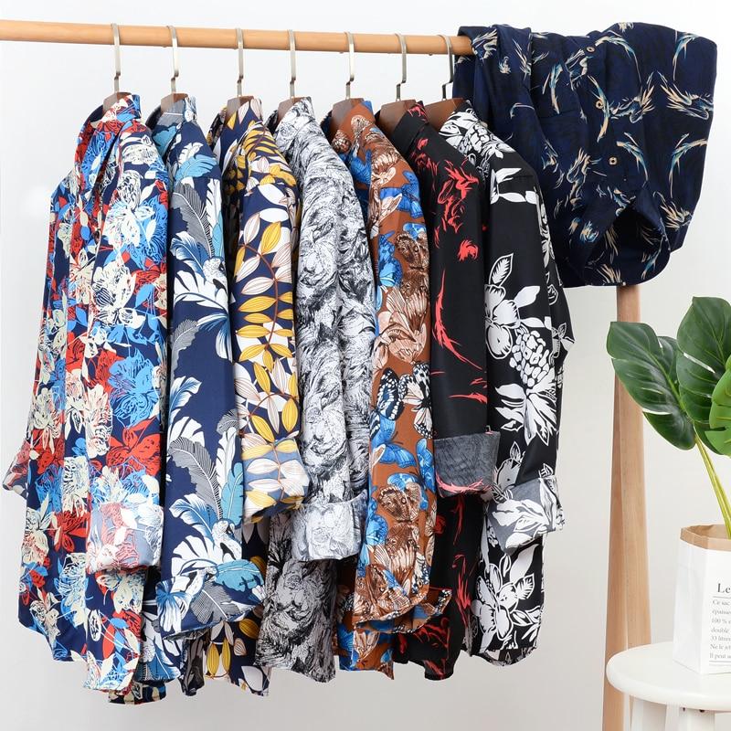 2020 Autumn New Men's Flower Shirt Casual Loose Long-sleeved Hawaii Shirts Male Brand Clothes Plus Size 5XL 6XL 7XL 8XL 9XL 10XL