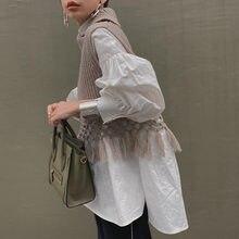 Женская офисная блузка с длинными рукавами-фонариками, белая Слитная блузка большого размера с высоким воротником, корейский стиль, весна-о...