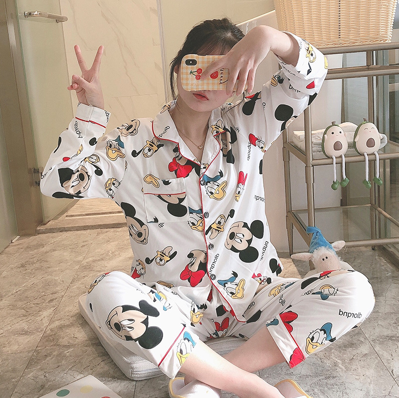 Women Pijama Mujer Leisure Wear Leisure Clothes 2019 Summer Autumn Short Sleeved Women Pajamas Sets Long Pant Girls Pyjamas Sets