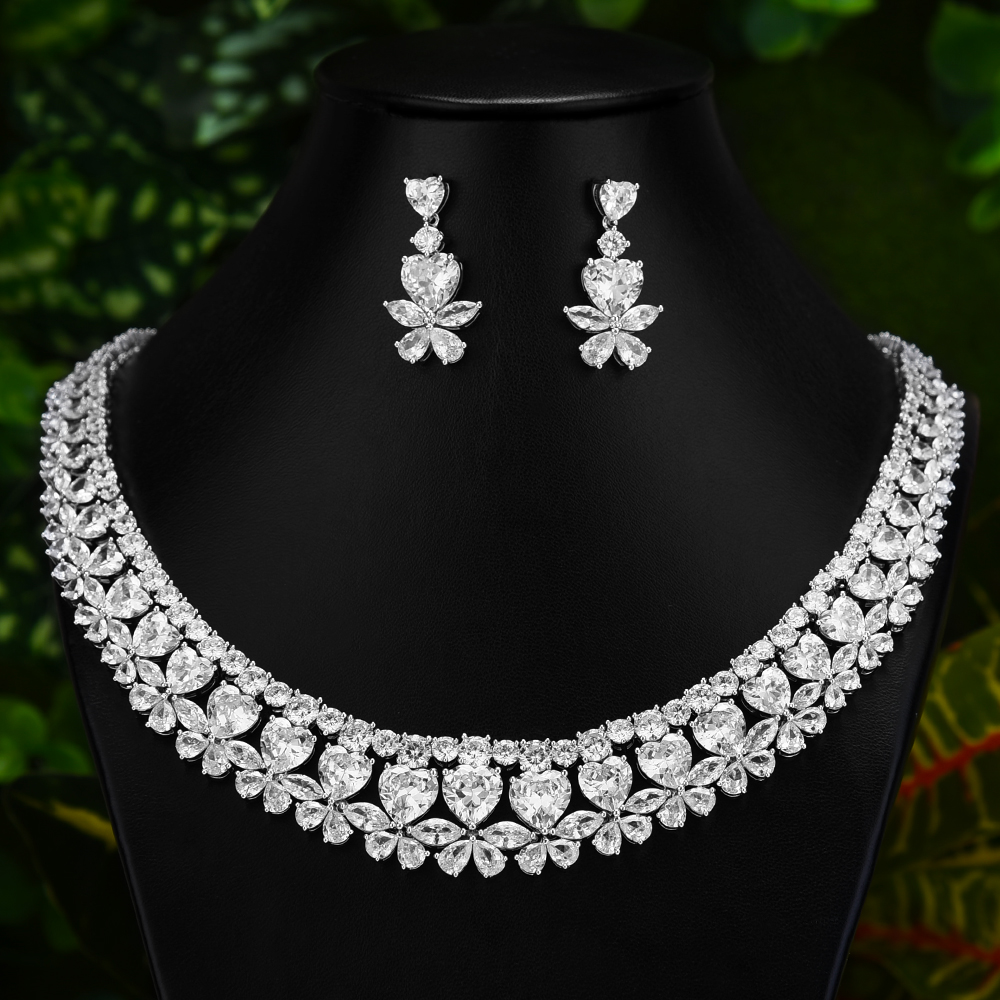 GODKI Exclusive 2020 Shining Clear Crystal Trendy Necklace Earrings 2 PCS Jewelry set Tassel Dubai Fine Jewelry Sets for Ladies