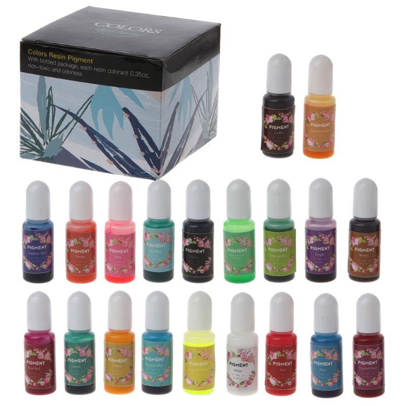 20 Color Epoxy Resin Pigment Kit Liquid  Epoxy Resin Colorant Dye Jewelry Making