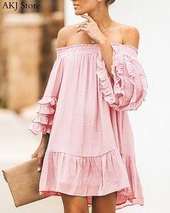 Women Solid Sexy Off Shoulder Long Sleeve Frill Hem Ruffled Mini Dress