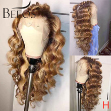 Beeos 150% 360 Lace Frontal Wig Ombre Colored Loose Wave Pre Plucked With Baby Hair Lace Front Human Hair Wigs Brazilian Remy