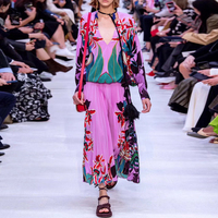 AELESEEN Runway Fashion 2020 Spring Summer Women 2 Piece Set Tassel Purple Loose Blouse + Print Pleated Skirt Twinset Lady Suit