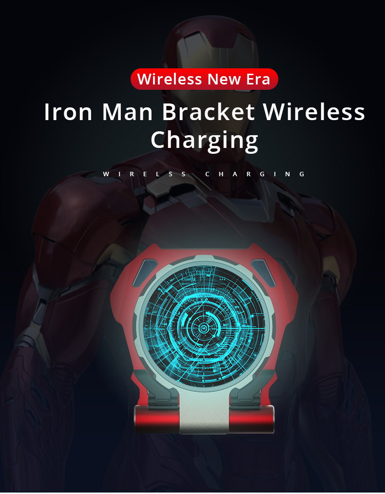 Metal Iron Man Portable Wireless Charger Samsung Galaxy S9 S8 iPhone Xs / 8plus / X Folding Stand Stand For Huawei Xiaomi