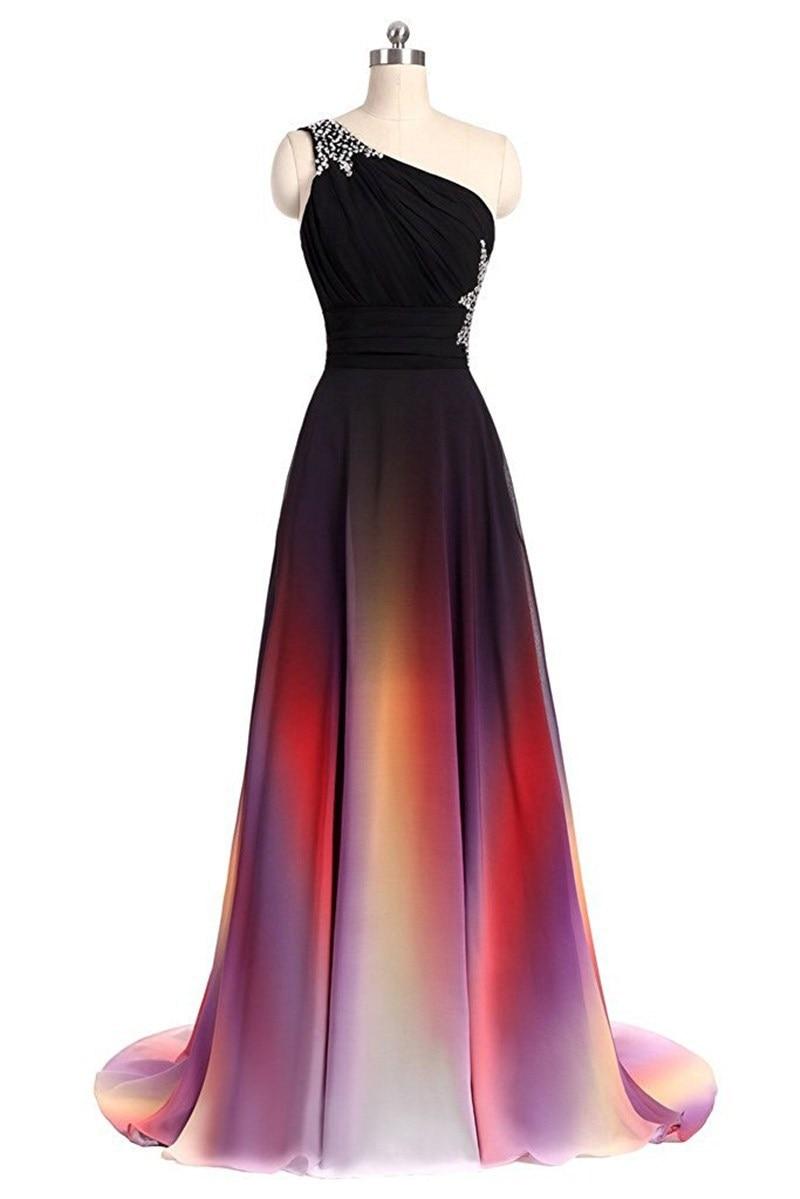 Multi Color A line Chiffon One Shoulder Pleat Beading bridesmaid dresses Wedding party dresses robe de soiree Lace Up Back