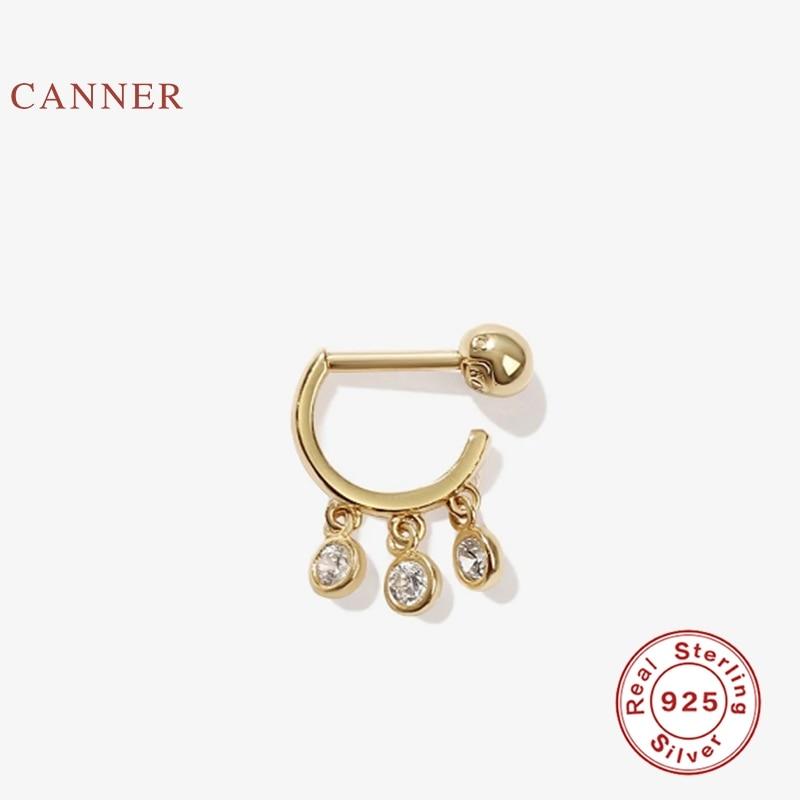 CANNER Pierced Diamond Earrings Hoops 925 Sterling Silver Earrings For Women Silver...