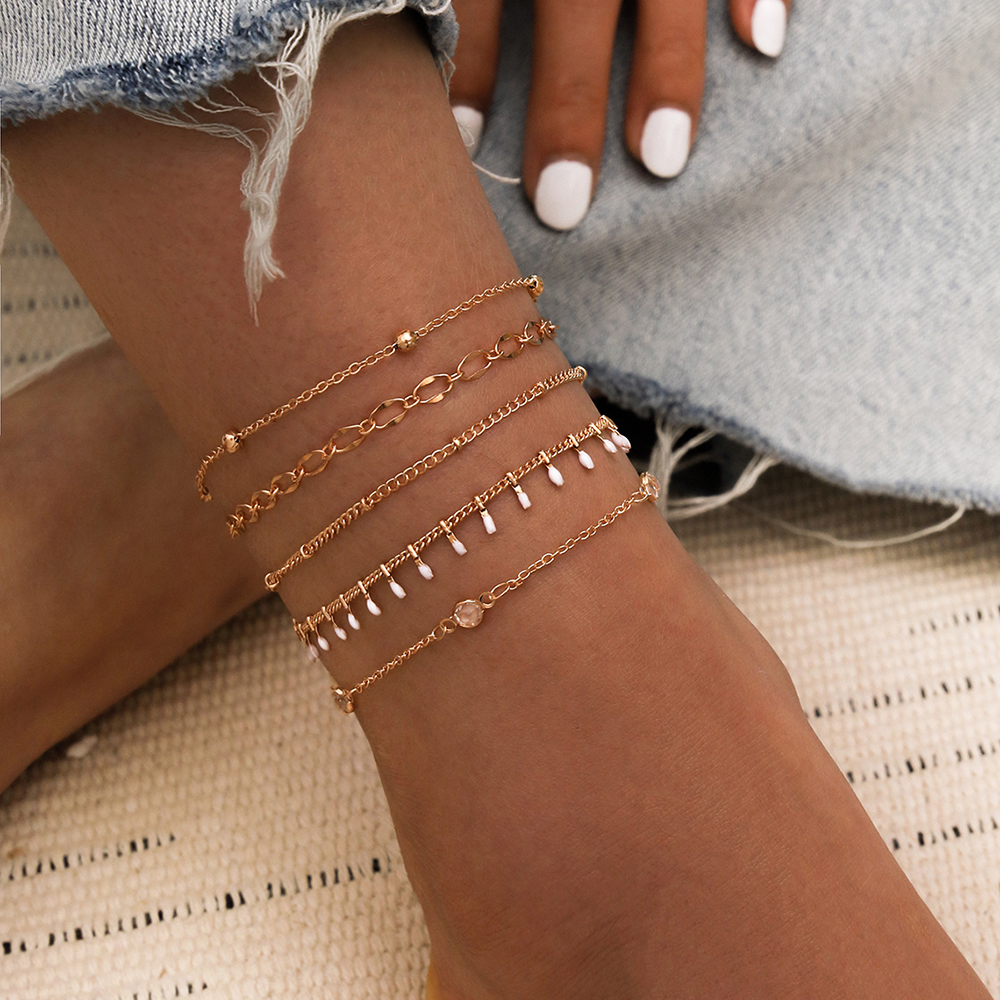 Modyle Shining Crystal Ankle Bracelet Silver Color Multilayer bead chain Anklet Sexy Barefoot Jewelry Women Foot Lovely Girl