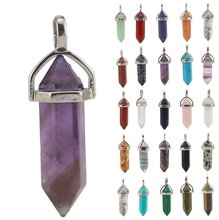 1 Pc 26 Color Natural Stone Pendant Necklace Boho Crystal Quartz Healing Point Chakra Jewelry Not Included Chain(China)