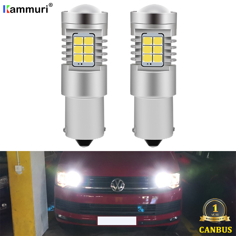 KAMMURI (2) White No Error 1156 P21W LED Bulb for Volkswagen <font><b>VW</b></font> <font><b>T4</b></font> T5 T5.1 T6 Transporter led DRL Backup Reverse <font><b>Light</b></font> Lamp image