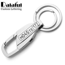 Customized Keychain For Car Plate Number Logo Anti-lost Keyring Engraved Name Key Chain Ring Personalized Gift For Men K372C