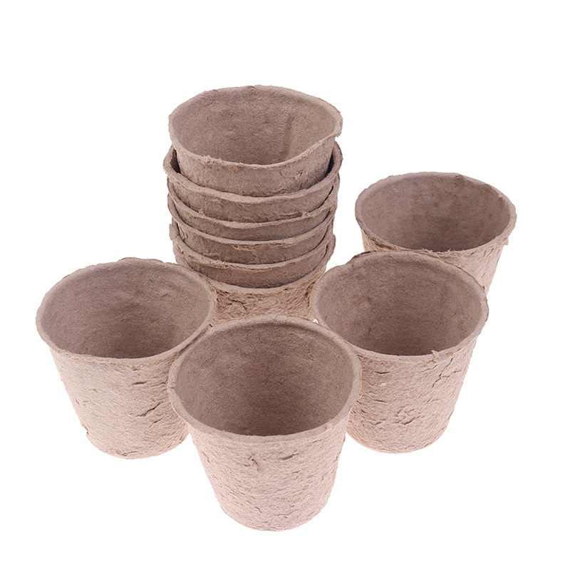 10Pcs Paper Pot Plant Starters Seedling Herb Seed Nursery Cup Kit Organic Biodegradable Home Cultivation 6x6x4.5cm