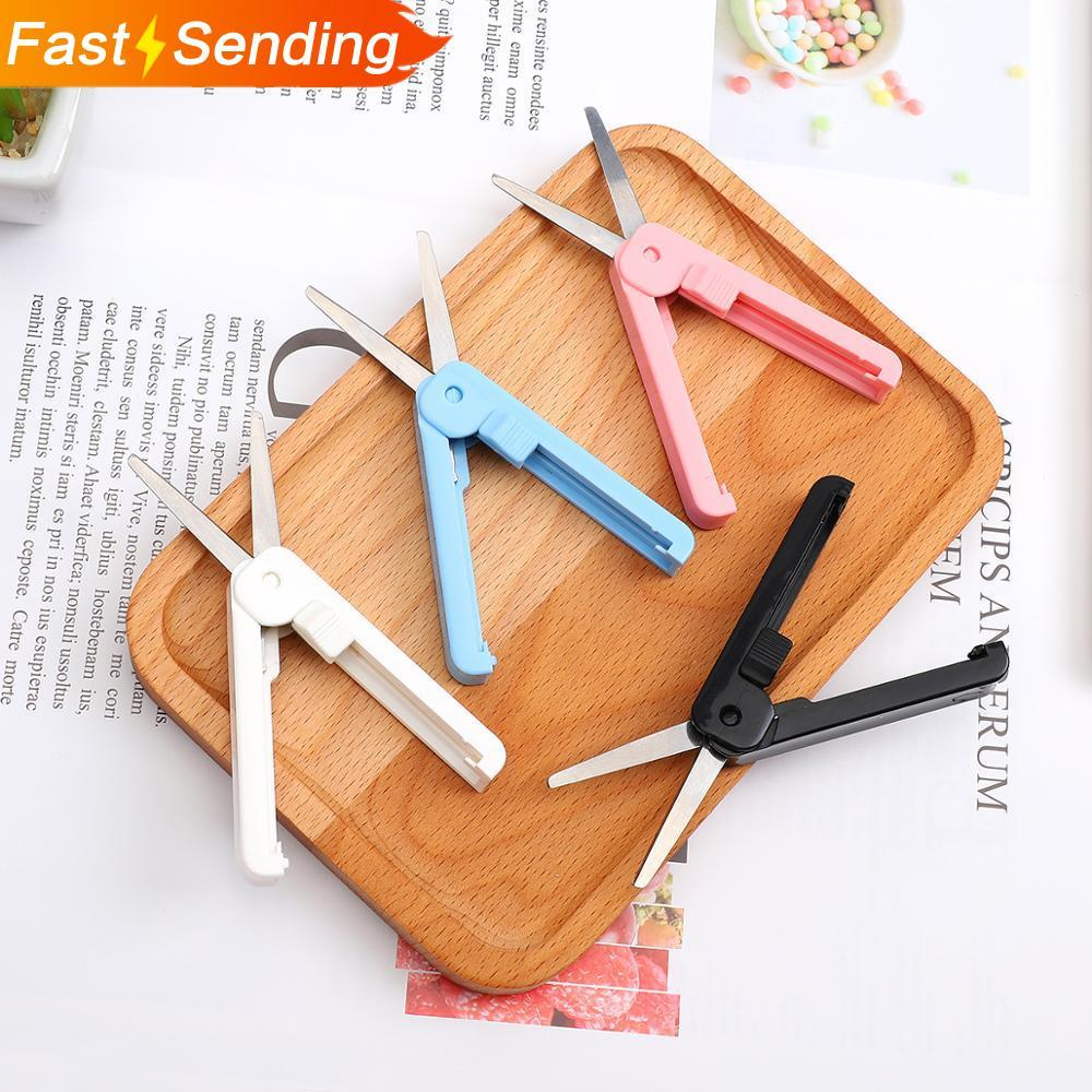 Creative Portable Telescopic Scissors Pure Color Simplicity Paper-cutting Folding Safety Scissors Mini Stationery Scissors