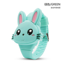 Green Lovely Rabbit Cartoon Children Watches Flip Cover Rubber Electronic