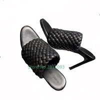 Knitted Handwork Slipper Outdoor Stiletto High Heel Shoes Open Toe Slip On Dress Office Lades Shoes Summer Genuine Leather Solid