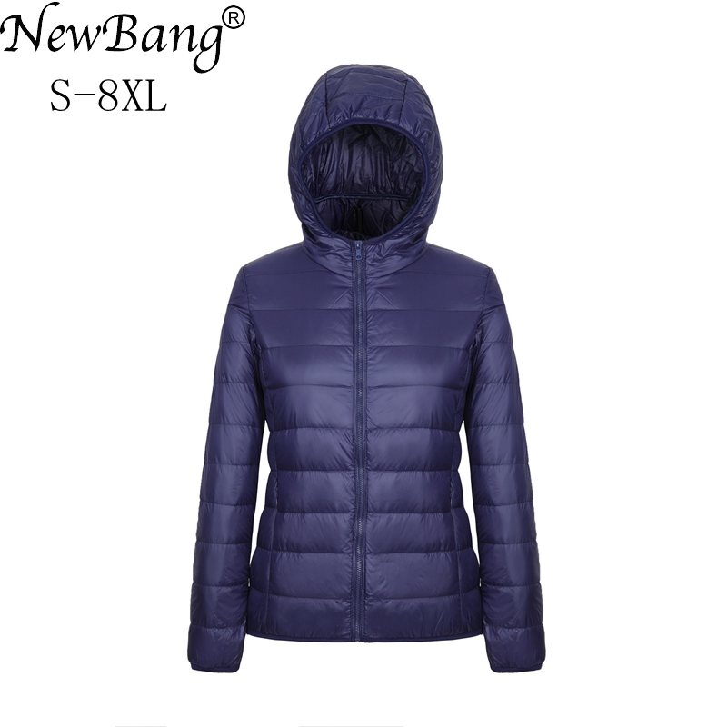 NewBang Brand Plus 8XL 7XL Women's Overcoat Female Ultra Light Duck Down Jacket Autumn Winter Hooded Large Size Down Coat