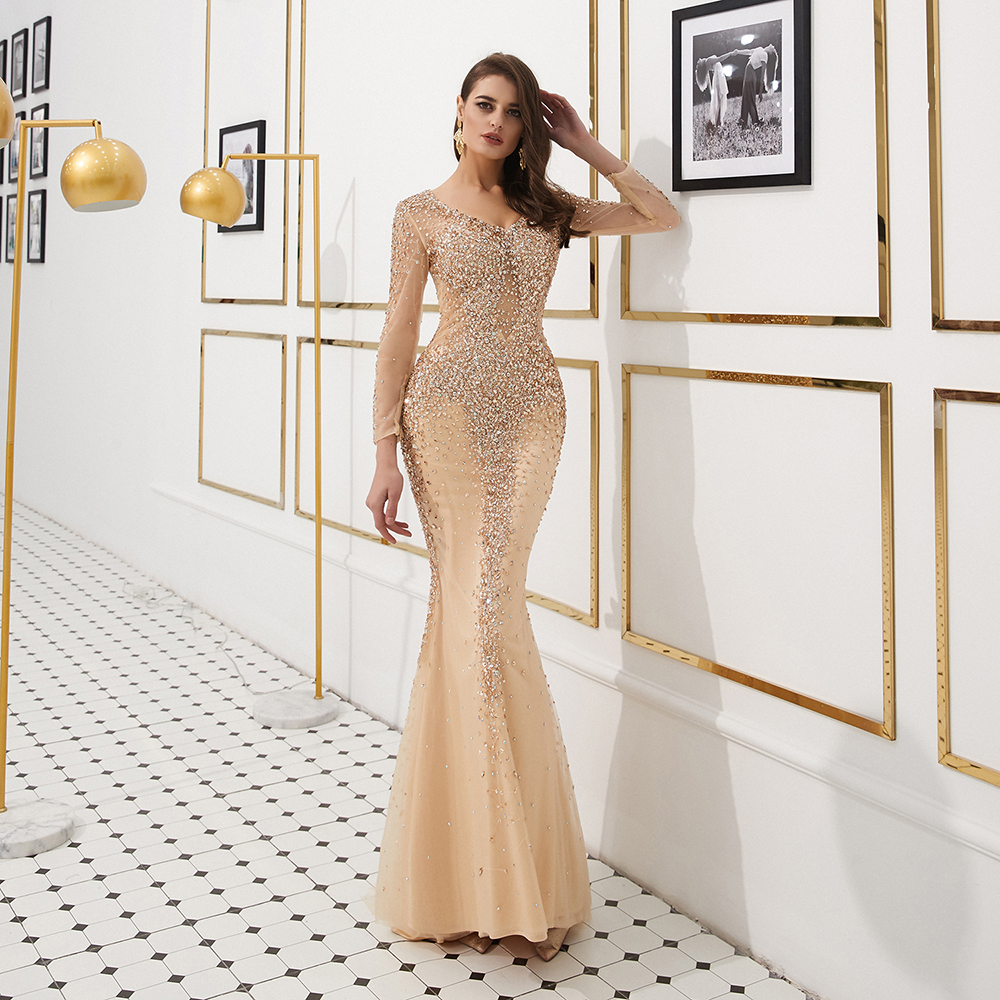 New Collection 2020 Grey Rhinestones Long Evening Dresses Elegant Mermaid Long Sleeves Pageant Dress Women Gown Vestidos