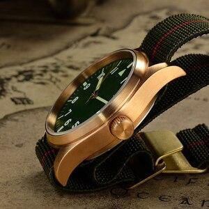 Image 5 - San Martin Pilot Military Watch Bronze Men Wristwatch Nylon Elastic Strap  Sapphire Water Resistant 200M Luminous часы мужские