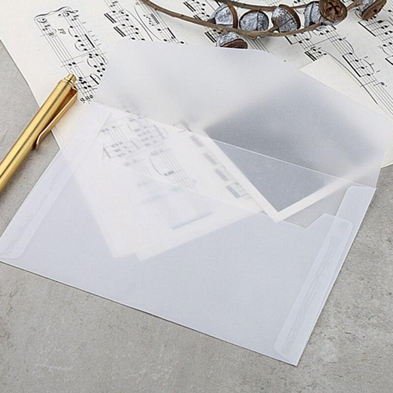 50Pcs Translucent Blank White Parchment Paper Envelope Postcards Invitations Cover Envelopes