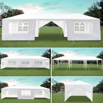 3 x 9m Eight Sides Two Doors Waterproof Tent with Spiral Tubes Garden Tent Gazebo Canopy Portable Upgrade Outdoor Gazebo
