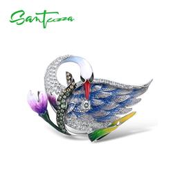 SANTUZZA Silber Brosche für Frauen Reine 925 Sterling Silber Blau Schwan Tier Blume Trendy Mode Edlen Schmuck Handmade Emaille