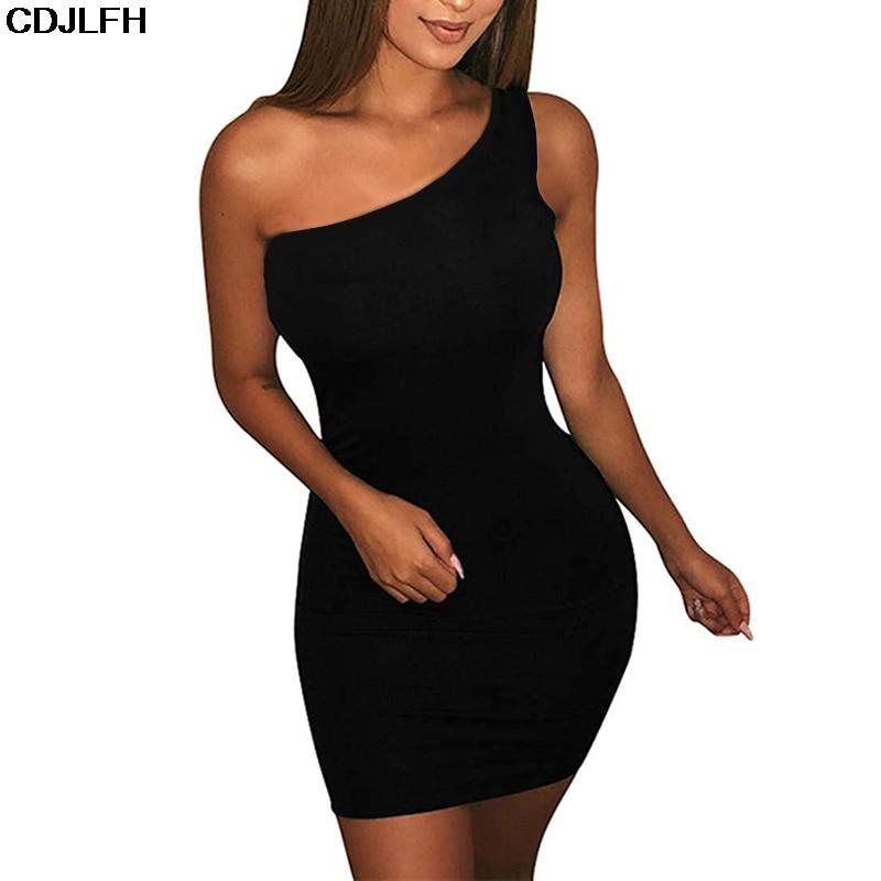 CDJLFH Women's Casual Basic One Shoulder Tank Top Bodycon Sleeveless Party Dresses Women Mini Dress Drop Shipping Black Dress