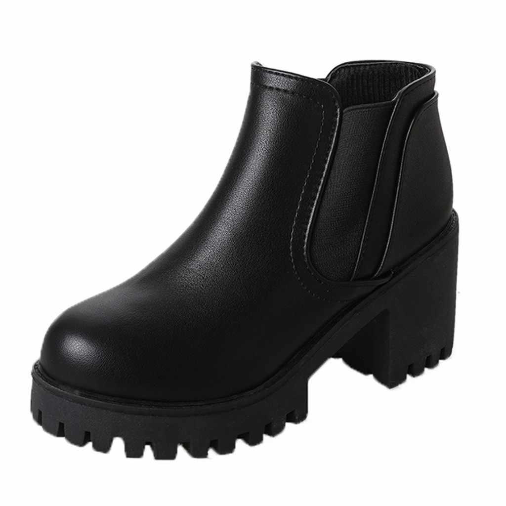 Botas de combate Tornozelo para As Mulheres Casual Outono Inverno Das Senhoras Do Bloco da Cor Sólida Dedo Do Pé Redondo Cravejado Baixos Sapatos Botines Mujer 2019