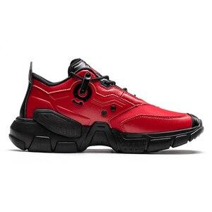 Image 3 - أحذية رياضية للرجال من ONEMIX أحذية بنمط تكنولوجي من الجلد أحذية مريحة للركض وممارسة الرياضة باللون الأحمر للسيدات أحذية ريترو أبي