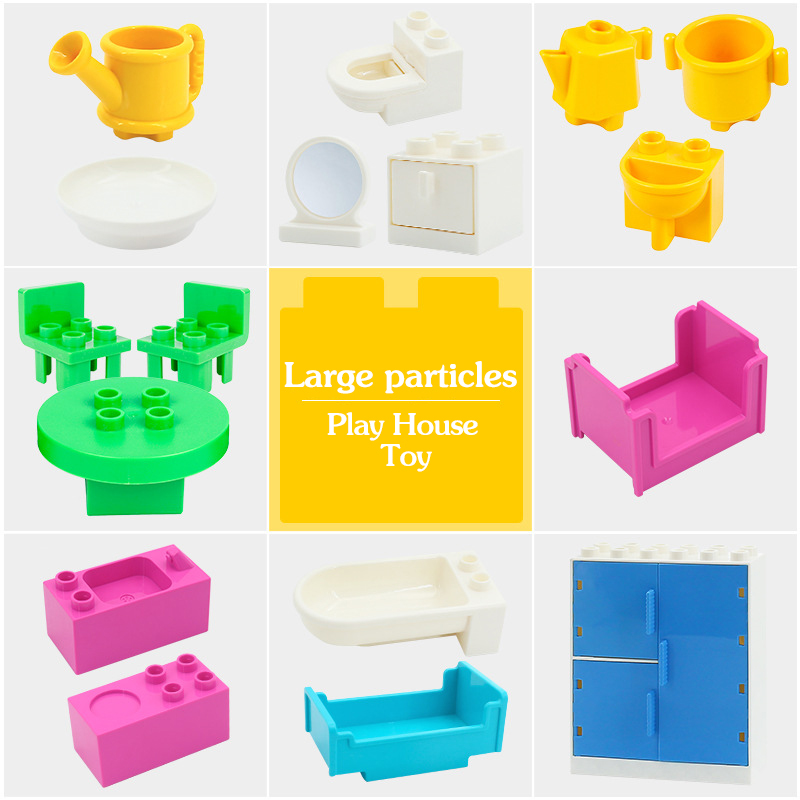 Hot Big Building Blocks Compatible Duplo Wardrobe Bed Mirror Chair Creator Scene DIY Accessories Bricks Kids Baby Toys