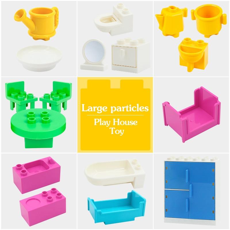 Hot Big Building Blocks Compatible Duplo Wardrobe Bed Mirror Chair Creator Scene DIY Accessories Bricks Kids Baby Toys