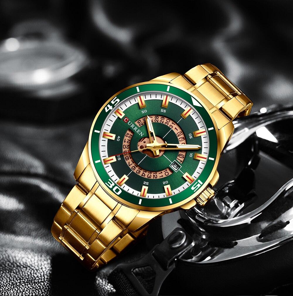 CURREN Stainless Steel Men's Watch Fashion Design Quartz Wristwatch with Date Clock Male Reloj Hombre Watch Men