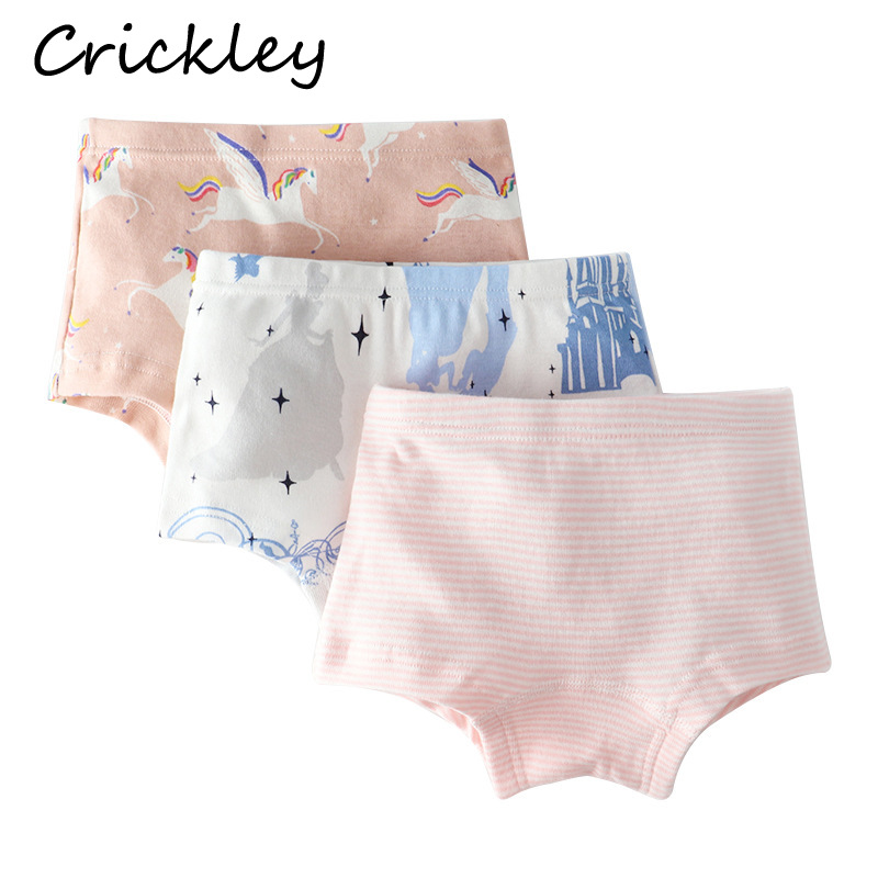 3Pcs Lot Child Girls Boxer Cartoon Flower Rainbow Mermaid Print Panties for Toddler Girls of 12 Years In Cotton Underwear in Panties from Mother Kids