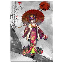 DIY Full Square Round Diamond Painting Japanese Kimono Cartoon umbrella Girl Vintage diamond mosaic for girl room home decor,(China)