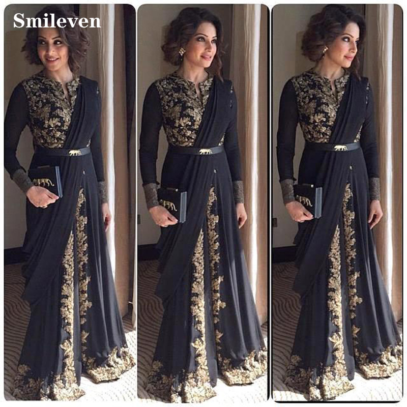 Smileven Black Moroccan caftan Evening Dresses Gold Lace Appliques Arabic Muslim Special Occasion Dress Evening Party Gowns