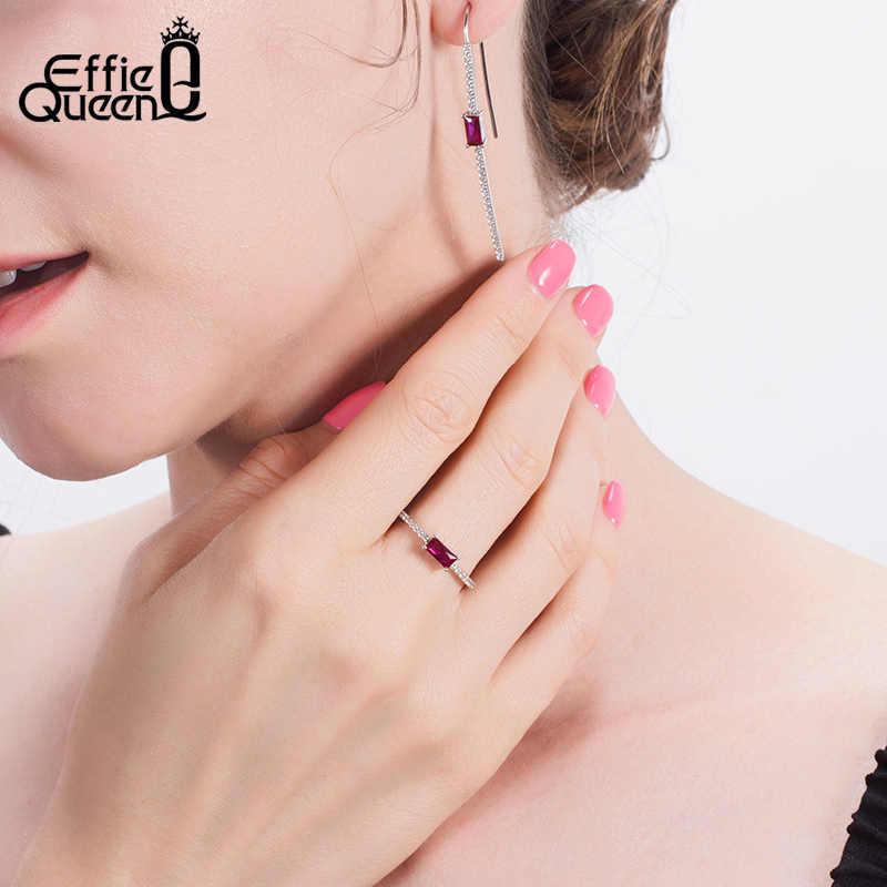 حلق معلق من الفضة 925 من Effie Queen حلق جميل من الكريستال مع اكسيد الالمونيوم AAAA أقراط من الزركون المصغر مرصوف مجوهرات BE237